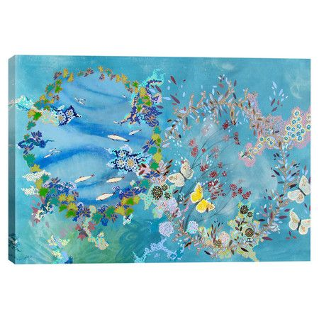 Add museum-worthy appeal to your living room or study with this eye-catching canvas print, showcasing a whimsical floral and butterfly motif.
