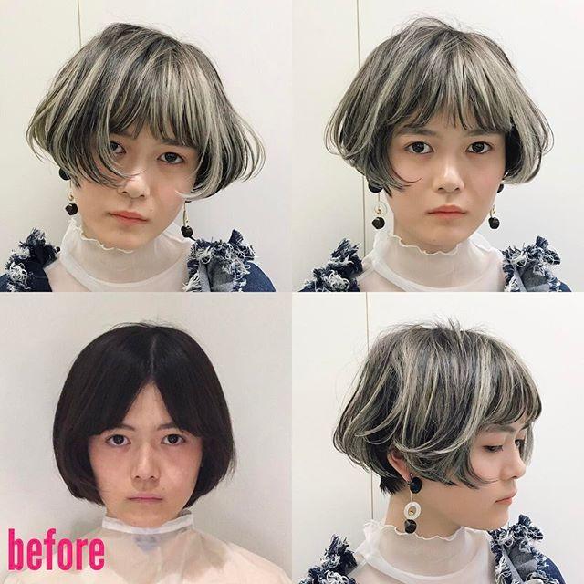 今日の新潟セミナー。モデルビフォーアフター。 まばらな短め前髪。アッシュグレーのハイライトをラフに入れたショートボブ。 奥行きのある可愛いショートボブ。 #vetica #新潟 #タチカワ #ボブ #BOB #ビフォーアフター #ショートボブ #美容師 #美容室 #hair #ショート #cut #カット #short #design #デザインカラー #ハイライト #グレー #髪 #髪型 #haircolor #ヘアカラー #ヘアスタイル #color #hairstyle