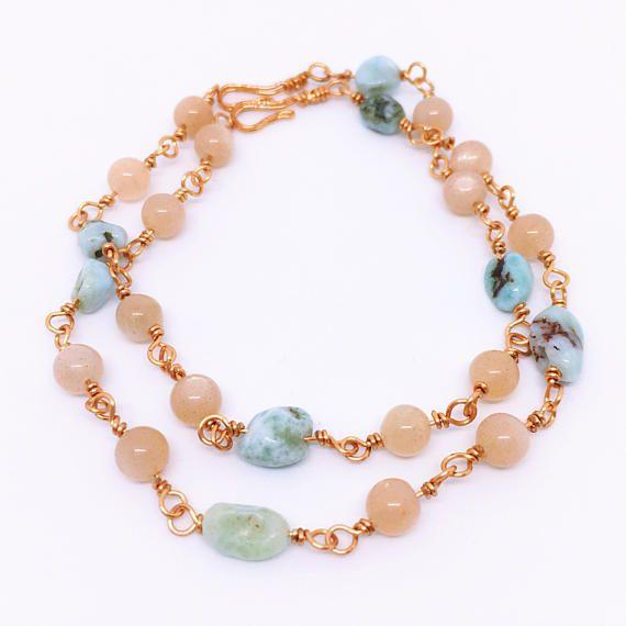 Moonstone Larimar Calming Bracelet, Peach Moonstone Larimar Bracelet, June Birthstone Bracelet, Larimar Jewelry, Girlfriend Gift