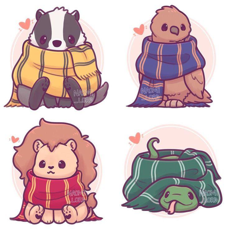 ✨💚💙💛❤️Meine kleine Hogwarts-Haustierserie alle zusammen! ❤ ¸ …