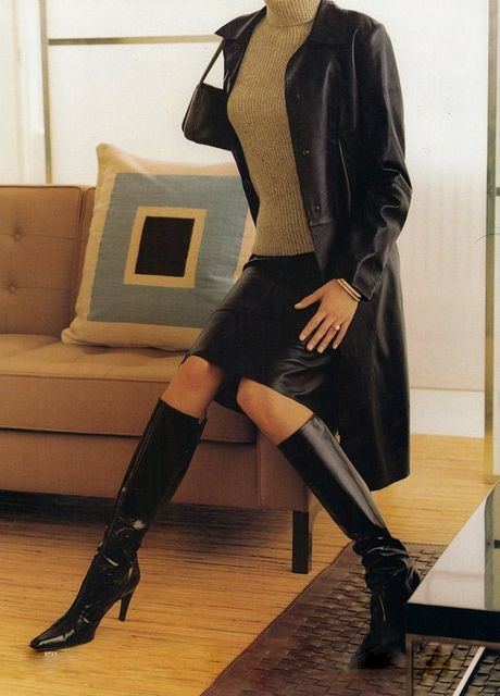 leather coat turtleneck leather skirt and