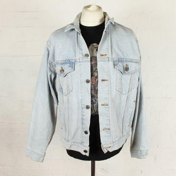 Vintage Levi's Washed Pale Blue White Denim Jacket Men's Medium Large ($43) ❤ liked on Polyvore featuring men's fashion, men's clothing, men's outerwear and men's jackets