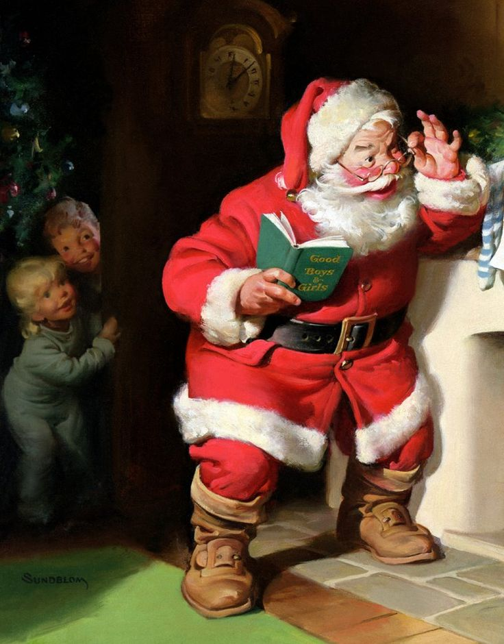 """Close Up of A Coke """"Santa"""" ad as painted by Hubbard """"Sunny"""" Sundblom... who did a whole series of """"Santa"""" ads for Coke, for years."""