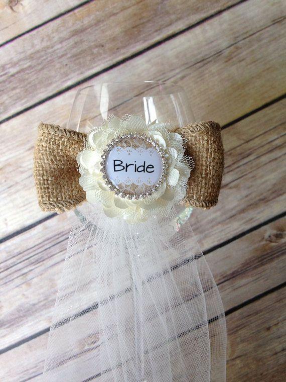 Bride Glass Garter - bridal shower / engagement party / bachelorette party favor / burlap bow and flower glass garter on Etsy, $13.00