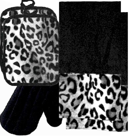 Animals Bordering Africa Animal Print Kitchen Linen Set  Black/Snow Leopard $35