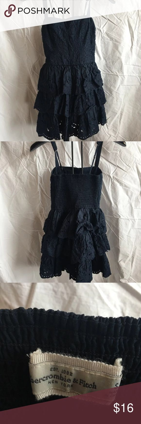 Navy Blue Abercrombie and Fitch Dress Navy blue Abercrombie and Fitch Dress with fitted top and tiered, eyelit lace skirt. Abercrombie & Fitch Dresses Midi