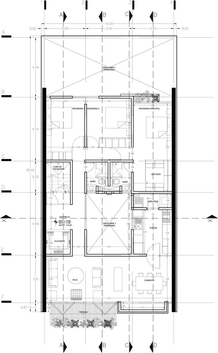 Las 25 mejores ideas sobre planos arquitectonicos en for Ejes arquitectonicos