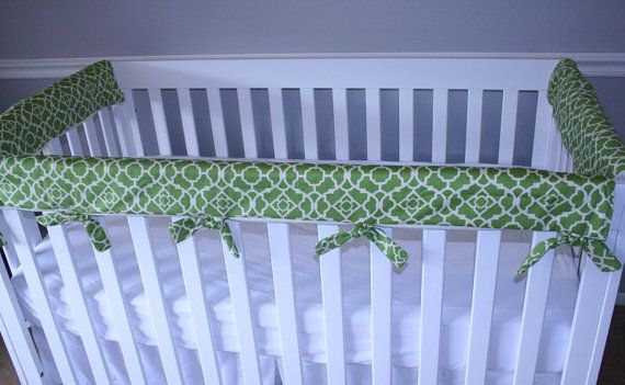 Padded Cloth Crib Rail Protector Cover Teething by BellaBambinoLLC, $75.00--Seems like this would be easy enough to sew?