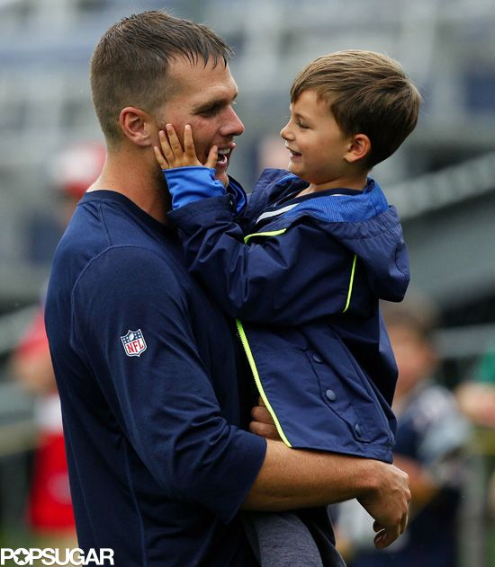 Tom Brady joked around with his son Ben at practice