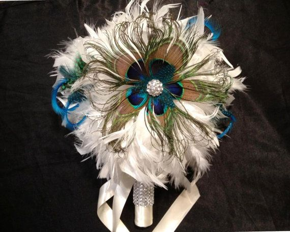 Items Similar To VINTAGE BLING Ivory Or White Peacock Feather Bridal Bouquet Wedding Bouquets Bling Crystal Custom Bride Feathers Colors Turquoise Blue
