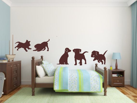 Vinyl Wall Decal Nursery Puppies  Puppy Decal by BlueCoutureDesign