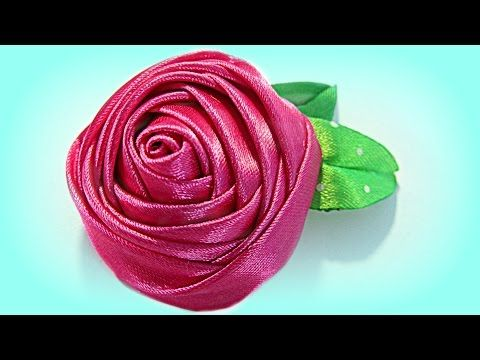 Cómo hacer flores con cinta de raso. How to make ribbons flowers. - YouTube