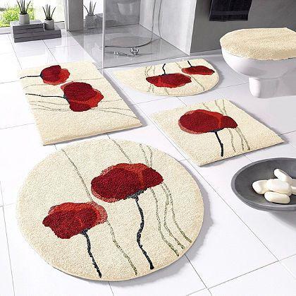 badmatten met rode bloemen