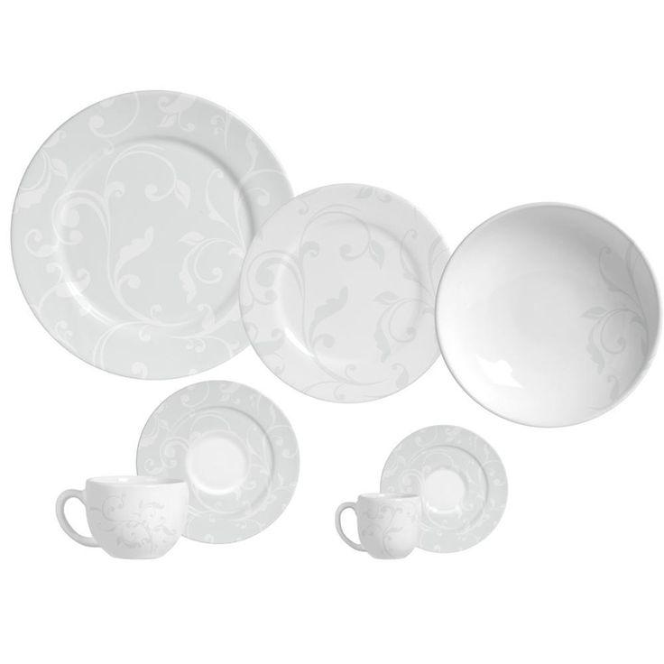 Aparelho de Jantar Flat All White Porto Brasil 42 Peças Faiança Redondo -Utilidades domésticas - De 31 a 42 peças - Walmart.com