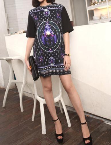 Tarot Print Black Dress