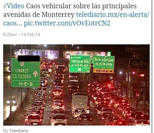 Monterrey Caos Vehicular Eugenio y Acapulco  x Telediario