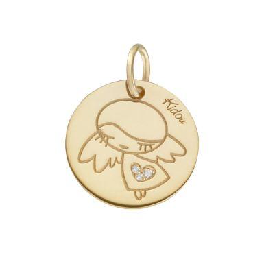 Pendentif Ange en or jaune et diamants