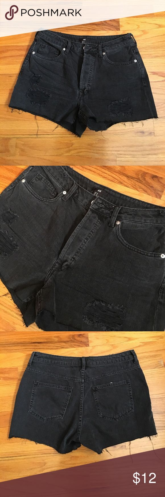 Black high waisted H&M cutoff jean shorts Black high waisted cutoff jean shorts, distressed on from, button fly, 2.5 inseam. Worn once. Bundle discount buy 2 items or more get 30% off! H&M Shorts Jean Shorts