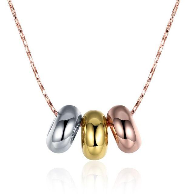 Три цвета Круглые Подвески 50 см 18 К Золотой Мужские ожерелья Ошейник де Ору змея цепи Для Подарка