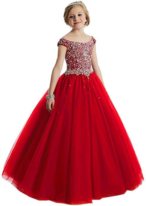 69d1c3e5c7b95 Amazon.com: HuaMei Girls Princess Tulle Beaded Straps Ball Gowns Flower Girl  Pageant Dresses 2 US Red: Clothing