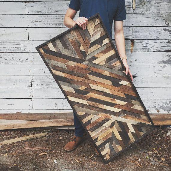 Rustic Wooden Art Design Made from Reclaimed Wood door crtcreative