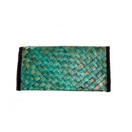Aqua Green Cross Stitched Cane Wallet