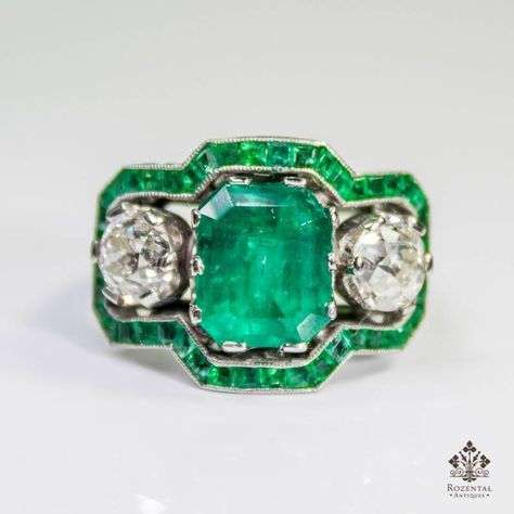 $8700 ANTIQUE ART DECO PLATINUM 3.68ctw. EMERALD & DIAMOND RING (GIA REPORT)