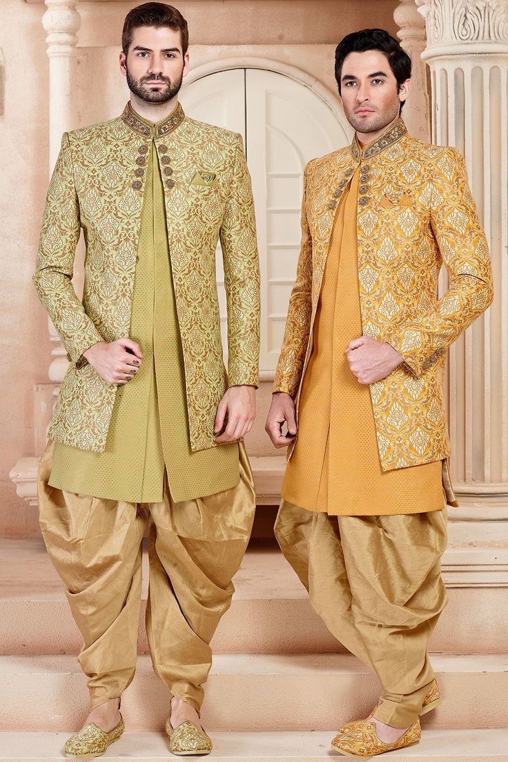 Green & Gold Silk Zardosi Embroidered Indo Western Sherwani-IW1017