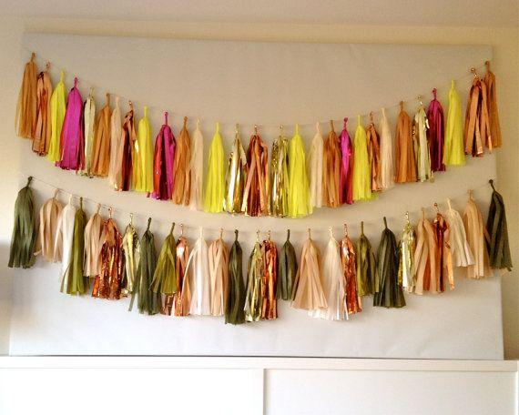 ..: Tassel Garland, Shinetissue Tassel, Inspired Copper, 47 00, Vintage Inspired