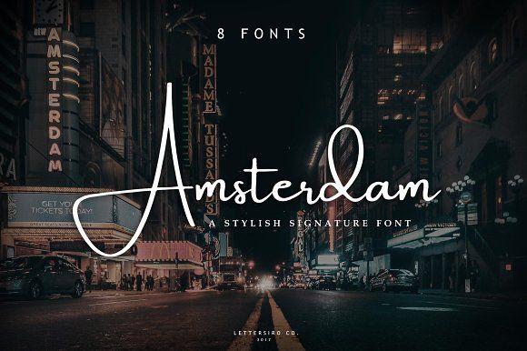 Amsterdam • 8 Elegant Fonts by Lettersiro on @creativemarket