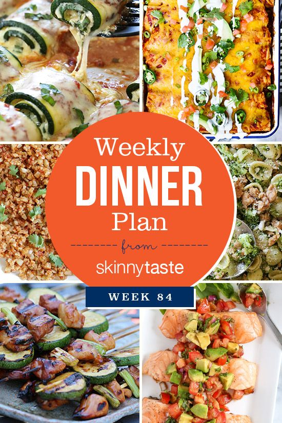 Skinnytaste Dinner Plan (Week 84). Yes, you NEED to try the zucchini rollatini if you haven't already! Hope everyone has a great week! Skinnytaste Dinner Plan (Week 84) Monday: Zucchini Rollatini Tuesday: Skinny Chicken Enchiladaswith Mexican Cauliflower Rice Wednesday: Leftovers Thursday: Grilled Chicken and Zucchini Yakitoriwith brown rice Friday: Grilled Salmon with Avocado Bruschetta Saturday: […] :: Food