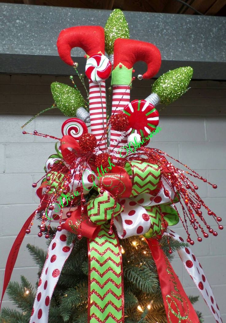 Elf Legs Christmas Tree Topper READY TO SHIP by DecoMeshObsession on Etsy https://www.etsy.com/listing/250558233/elf-legs-christmas-tree-topper-ready-to