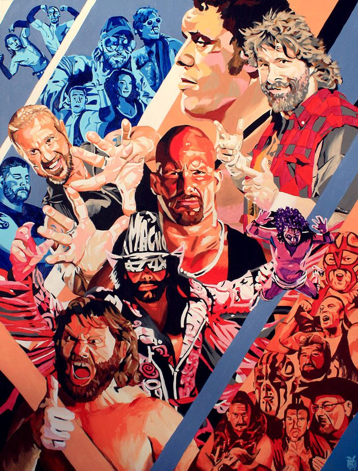 "Pro Wrestling Tees - Acrylic on 36"" x 48"" canvas"