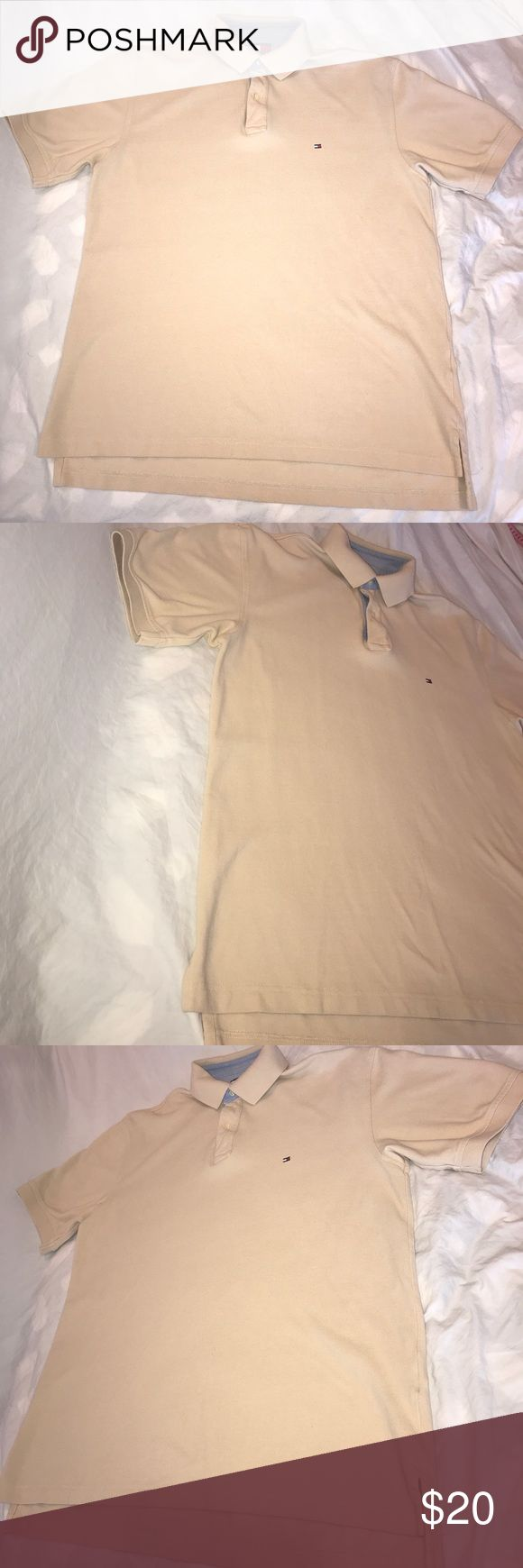 Tommy Hilfiger Pique Polo Shirt Size L Great casual Pique Polo Shirt by Tommy Hilfiger in a tan beige. It is in great pre-owned condition. Size is large. Tommy Hilfiger Shirts Polos