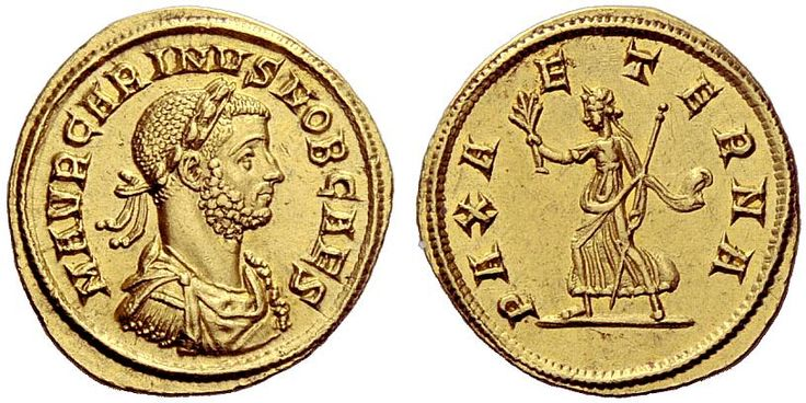 Carinus (282-283). Aureus, 4.83 g, 282. M AVR CARINVS NOB CAES. Laureate, draped and cuirassed bust r. / PAX A – ETERNA. Pax walking l., holding olive branch and sceptre. C 62. RIC 153. Calicó 4351 (this obverse die). Ex Sotheby's 10 November 1972, Metropolitan Museum part I, 208; Lanz 52, 1990, 674; Lanz 70, 1994 (Margaretha Ley), 193 and NAC 21, 2001, 549 sales. NAC AG, Auction 54, lot 593. Very rare. Struck on a very large flan, lustrous and extremely fine.
