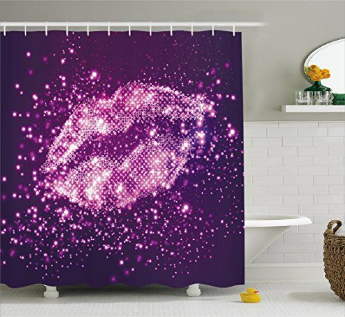 Image On Purple Shower Curtain by Ambesonne Digital Trendy Woman Lips with Sparkling Vibrant Light Effects Disco