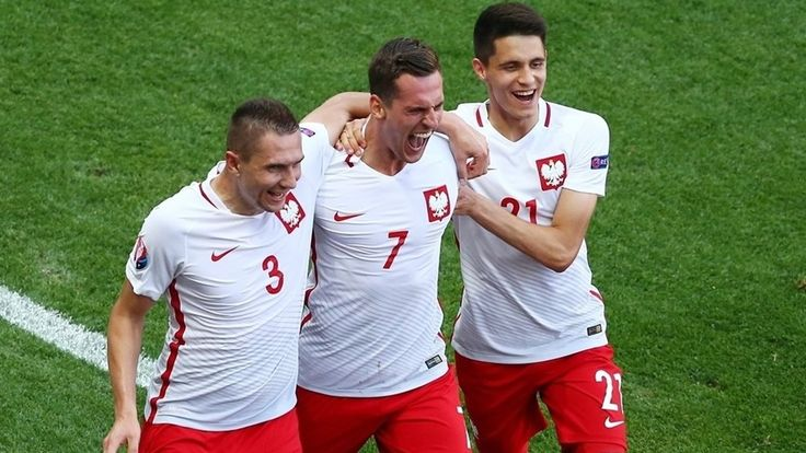 Arkadiusz Milik (2nd L) of Poland celebrates with team-mates after scoring the opening goal during their UEFA EURO 2016 Group C match against Northern Ireland