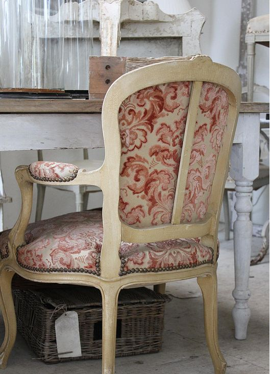 Rustic French Country bedroom from Cote Sud home decor magazine from France.A hallmark of French country furniture is a painted and distressed furniture, and Toile prints