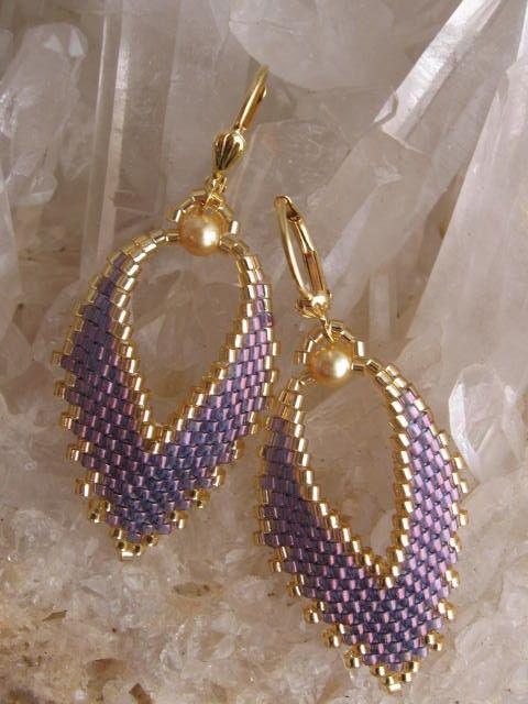 Fait sur commande de lustre violet/bleu - boucles d'oreilles feuille russe-