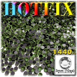 1440-pc glass DMC Hot-Fix Rhinestones Round 3mm (10ss) Olive Green