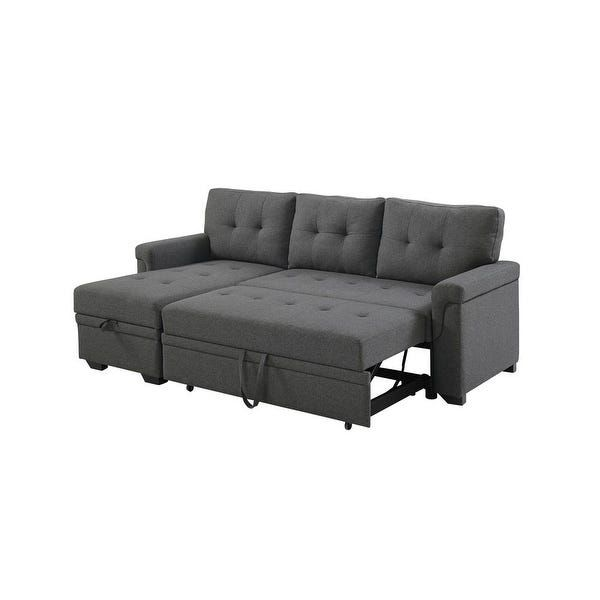 Copper Grove Perreux Linen Reversible Sleeper Sectional Sofa In 2020 Sectional Sleeper Sofa Sofa Storage Storage Chaise