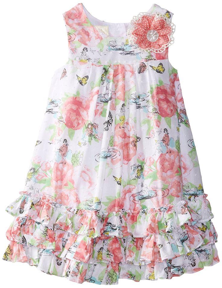 Laura Ashley London Little Girls' Butterfly Garden Dress, Multi, 6X