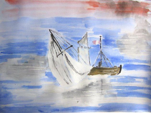 Aquarell Bild Segelboot Handgemalt Mit Aquarellfarben Auf