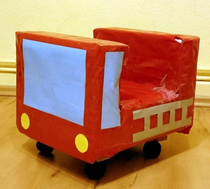 手作り乗用カート 消防車 段ボールおもちゃ4 段ボールおもちゃ おもちゃ 手作りおもちゃ