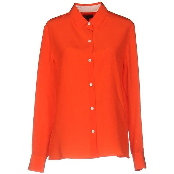 Rag & Bone Shirt (13.200 RUB) ❤ liked on Polyvore featuring tops, rust, red long sleeve top, long sleeve tops, red top and slit tops