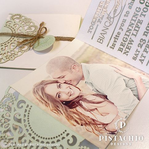Mint doily lasercut wedding invitation with laser lettering made by www.pistachiodesigns.co.za