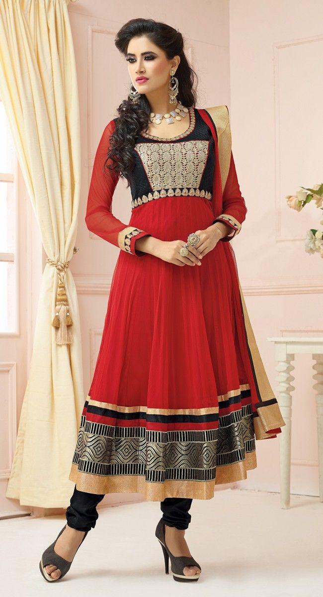 Black and Red color Anarkali Suits Rmd Salwar-Net Salwar Kameez