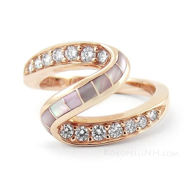 Kabana Pink Mother Of Pearl and Diamond Ring in Rose Gold Dreams