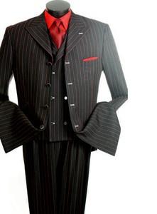 New Men's Suit 3 PC Gangter Stripe Black Red | eBay