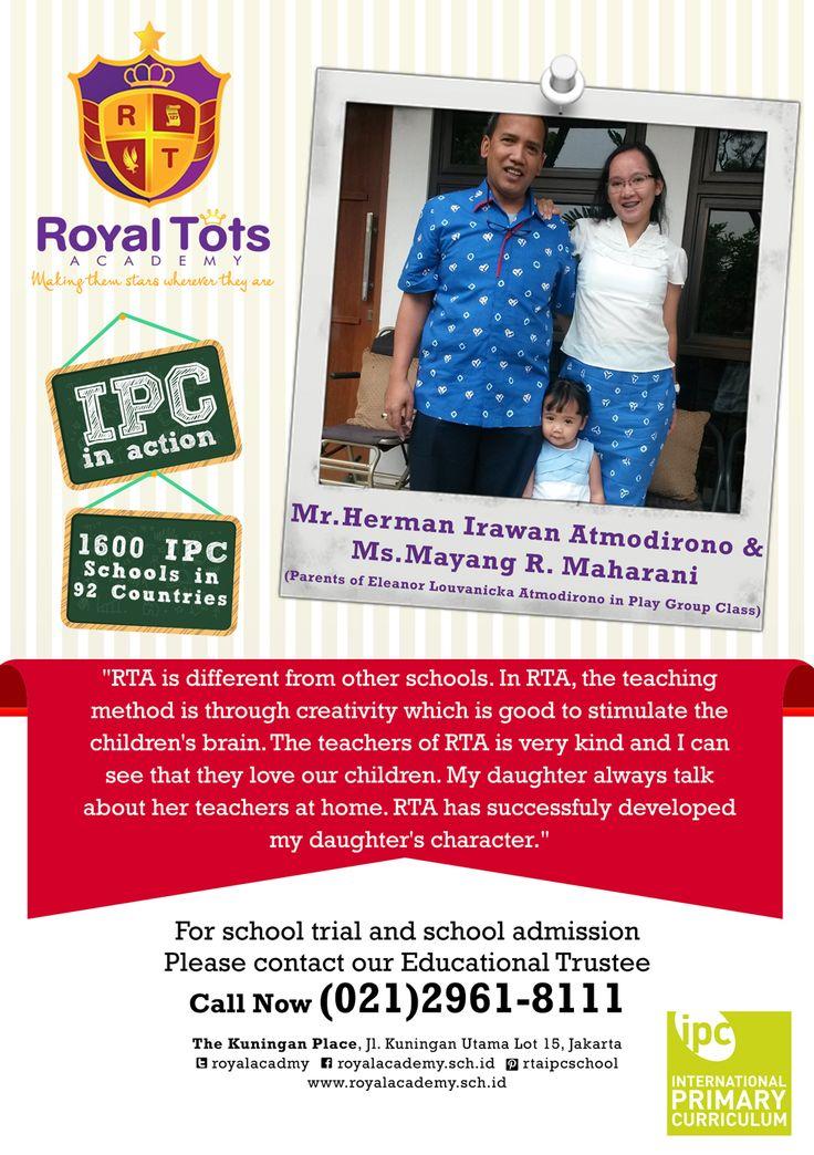 Mr.Herman Irawan & Ms.Mayang Maharani (Parents of Eleanor in Play GroupClass) #Parent #IPC #School #Testimony